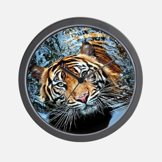 Tiger in Water Wall Clock