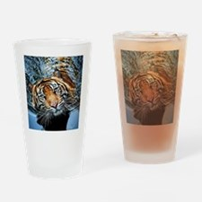 Tiger in Water Drinking Glass