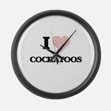 I love Cockatoos (Heart Made from Large Wall Clock