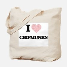I love Chipmunks (Heart Made from Words) Tote Bag