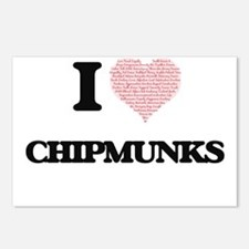 I love Chipmunks (Heart M Postcards (Package of 8)