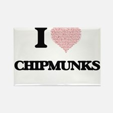 I love Chipmunks (Heart Made from Words) Magnets