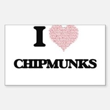 I love Chipmunks (Heart Made from Words) Decal