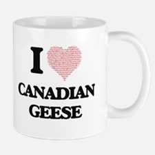 I love Canadian Geese (Heart Made from Words) Mugs