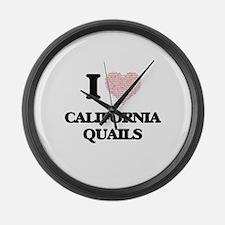 I love California Quails (Heart M Large Wall Clock