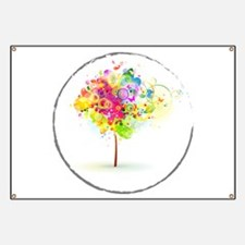 Colourful psy flowers Banner