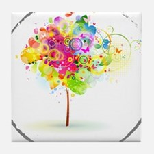 Colourful psy flowers Tile Coaster