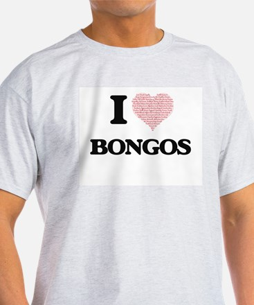 I love Bongos (Heart Made from Words) T-Shirt