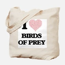I love Birds Of Prey (Heart Made from Wor Tote Bag