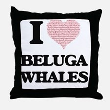 I love Beluga Whales (Heart Made from Throw Pillow