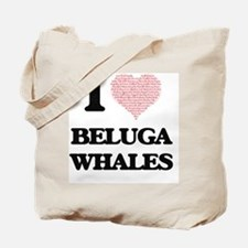 I love Beluga Whales (Heart Made from Wor Tote Bag