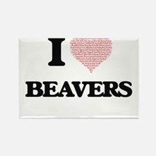 I love Beavers (Heart Made from Words) Magnets