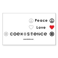 Peace Love Coexist Rectangle Decal