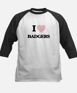 I love Badgers (Heart Made from Wo Baseball Jersey