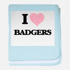 I love Badgers (Heart Made from Words baby blanket
