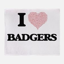 I love Badgers (Heart Made from Word Throw Blanket