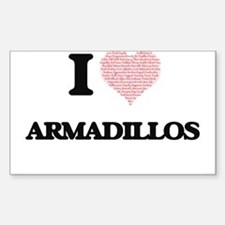 I love Armadillos (Heart Made from Words) Decal