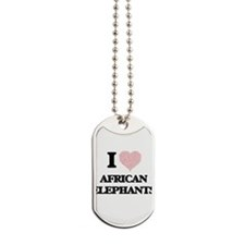 I love African Elephants (Heart Made from Dog Tags