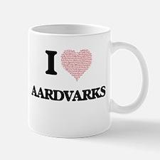 I love Aardvarks (Heart Made from Words) Mugs