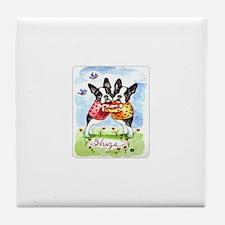 Boston Terrier Hugs Tile Coaster