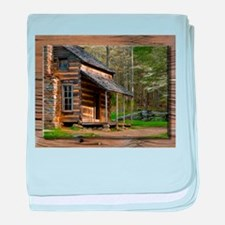 Cabin on Wood baby blanket