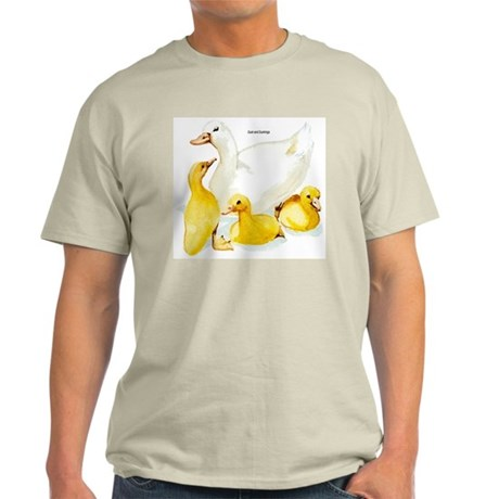 Duck and Ducklings (Front) Ash Grey T-Shirt