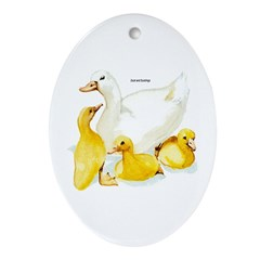 Duck and Ducklings Oval Ornament
