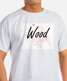 Wood surname artistic design with Butterfl T-Shirt