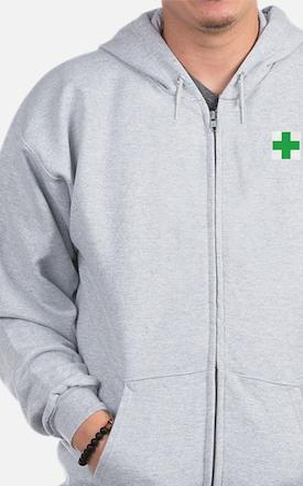 Green Cross Zip Hoodie