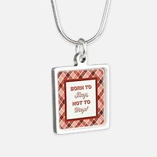 BORN TO SHOP.. Silver Square Necklace