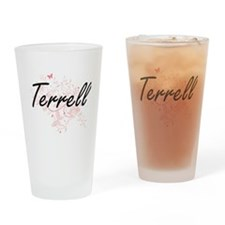 Terrell surname artistic design wit Drinking Glass