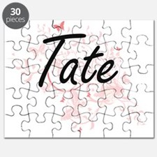 Tate surname artistic design with Butterfli Puzzle