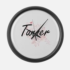 Tanner surname artistic design wi Large Wall Clock