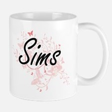 Sims surname artistic design with Butterflies Mugs