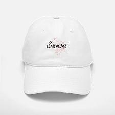 Simmons surname artistic design with Butterfli Baseball Baseball Cap