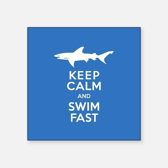 Keep Calm, Swim Fast Shark Alert Sticker