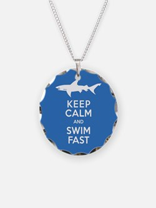 Keep Calm, Swim Fast Shark A Necklace