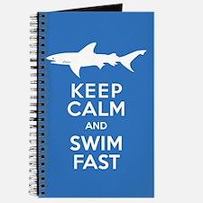 Keep Calm, Swim Fast Shark Alert Journal