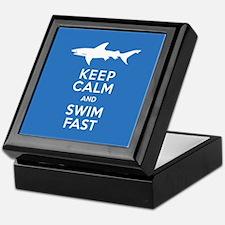 Keep Calm, Swim Fast Shark Alert Keepsake Box