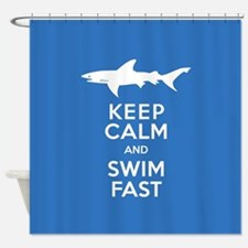 Keep Calm, Swim Fast Shark Alert Shower Curtain