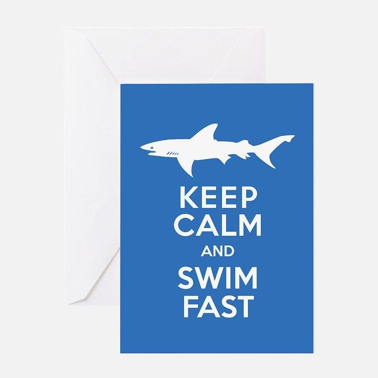Keep Calm, Swim Fast Shark Alert Greeting Cards