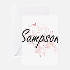 Sampson surname artistic design wit Greeting Cards