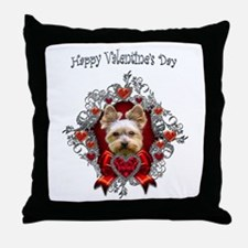 Yorkshire Terrier Valentine's Day Hearts Throw Pil