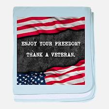 Patriotic quote. Thank a veteran. baby blanket