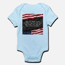 Patriotic quote. What can you do for you Body Suit