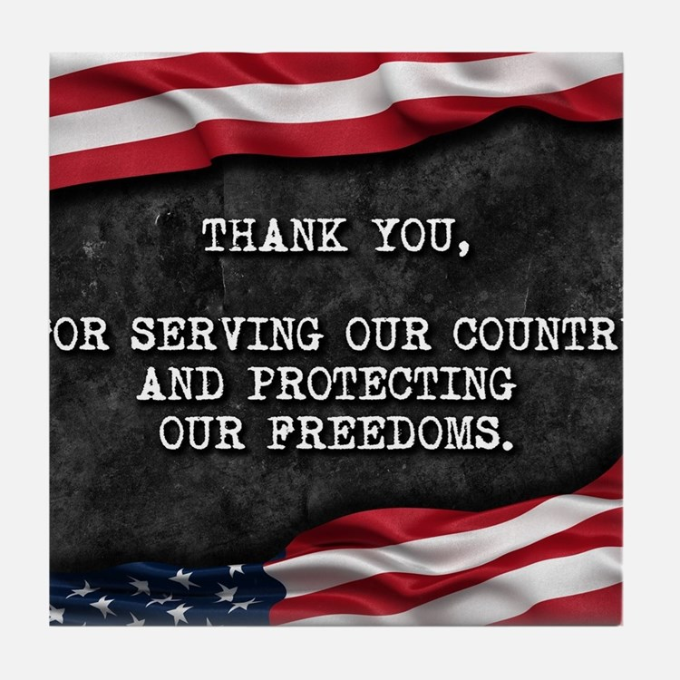 Cute Patriotic thank you Tile Coaster