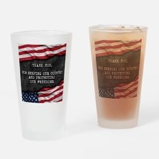 Unique Patriotic thank you Drinking Glass