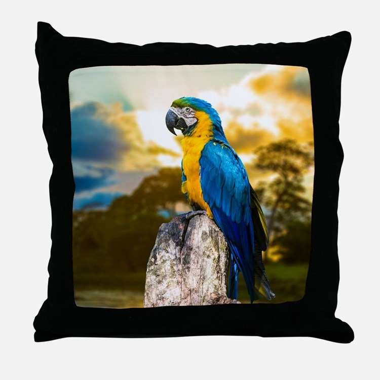 Beautiful Blue And Yellow Parrot Throw Pillow