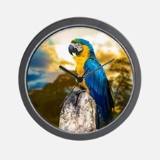 Beautiful Blue And Yellow Parrot Wall Clock