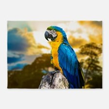 Beautiful Blue And Yellow Parrot 5'x7'Area Rug